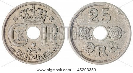 25 Ore 1924 Coin Isolated On White Background, Denmark