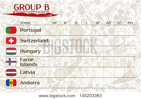 Football world championship 2018 European qualifiers matches group B table of results vector template