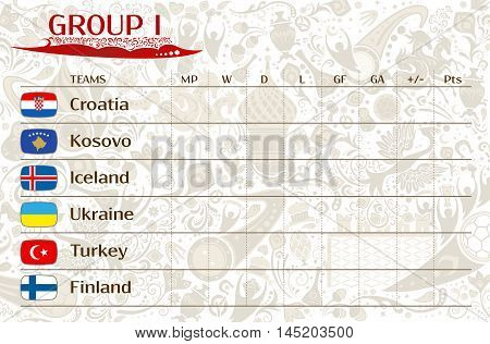 Football world championship 2018 European qualifiers matches group I table of results vector template