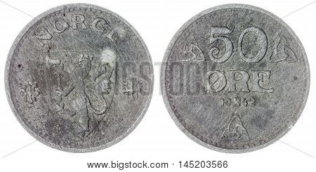 50 Ore 1942 Coin Isolated On White Background, Norway