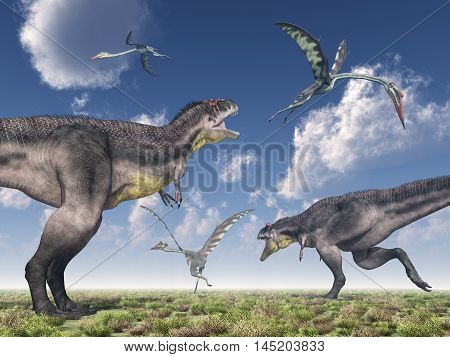 Computer generated 3D illustration with the dinosaur Tyrannotitan and the pterosaur Quetzalcoatlus