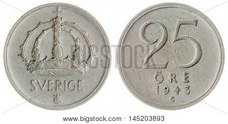 25 Ore 1943 Coin Isolated On White Background, Sweden