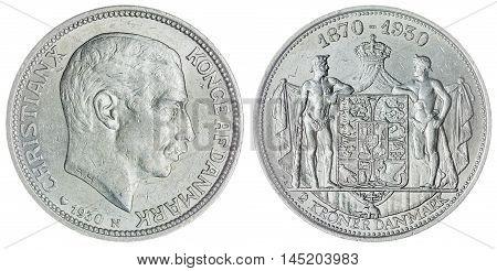 2 Krone 1930 Coin Isolated On White Background, Denmark