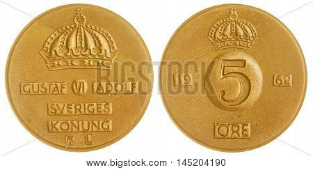 5 Ore 1962 Coin Isolated On White Background, Sweden