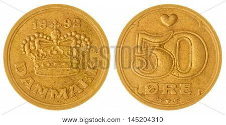 50 Ore 1992 Coin Isolated On White Background, Denmark