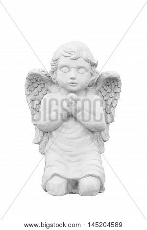 Cupid sculpture isolated on white background .