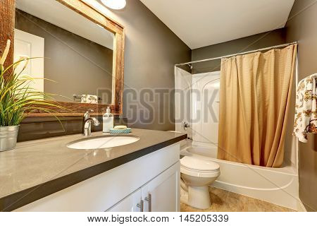 Interior Of Bathroom . Grey Walls With White Bathroom Appliances