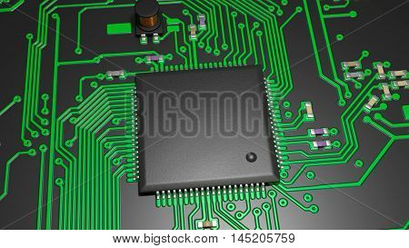 close-up of a chip and electronic components on the board