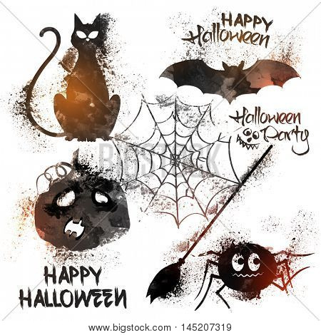 Scary Cat, Flying Bat, Pumpkin, Spider, Spider Web, Broom and typography design for Halloween Party celebration.