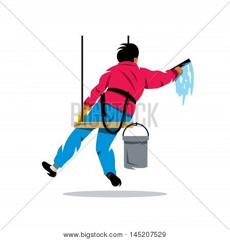 Man with bucket of water and scraper. Isolated on a White Background