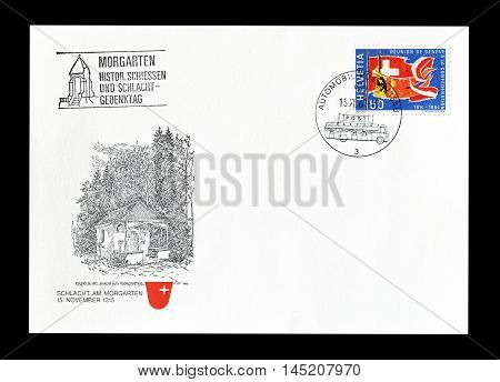 SWITZERLAND - CIRCA 1964 : Cancelled First Day Cover letter printed by Switzerland, that shows Flags of Geneva and Swiss Confederation.