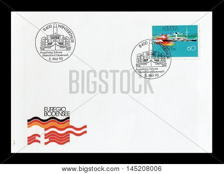 SWITZERLAND - CIRCA 1993 : Cancelled First Day Cover letter printed by Switzerland, that shows ship and flags.