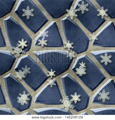 Seamless relief floor pattern of blue stones and snowflakes. Pavement background of sharp blue stones and white snowflakes