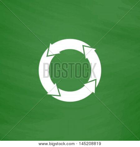 Simple Recycle. Flat Icon. Imitation draw with white chalk on green chalkboard. Flat Pictogram and School board background. Vector illustration symbol