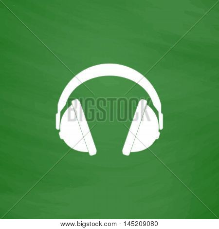 Headphone. Flat Icon. Imitation draw with white chalk on green chalkboard. Flat Pictogram and School board background. Vector illustration symbol