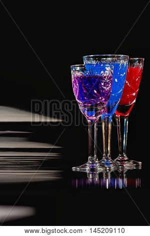 Crystal Glassware With Color Liquids