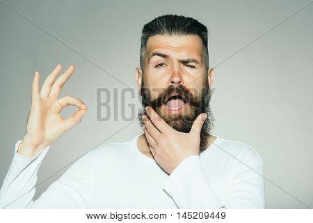 Bearded Man With Okey Gesture