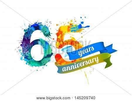 65 (sixty five) years anniversary. Vector watercolor splash paint