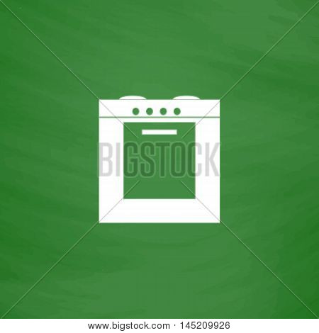 Stove. Flat Icon. Imitation draw with white chalk on green chalkboard. Flat Pictogram and School board background. Vector illustration symbol