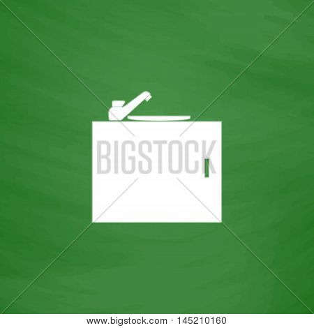 Kitchenware sink basin. Flat Icon. Imitation draw with white chalk on green chalkboard. Flat Pictogram and School board background. Vector illustration symbol