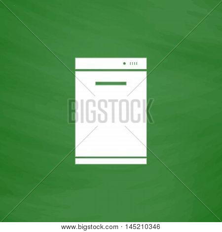Kitchen - Dishwasher. Flat Icon. Imitation draw with white chalk on green chalkboard. Flat Pictogram and School board background. Vector illustration symbol