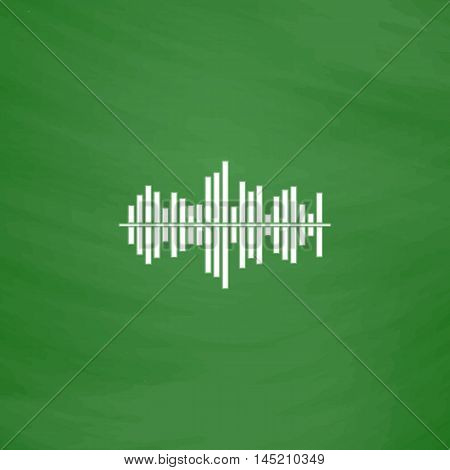Sound waveequalizer music. Flat Icon. Imitation draw with white chalk on green chalkboard. Flat Pictogram and School board background. Vector illustration symbol