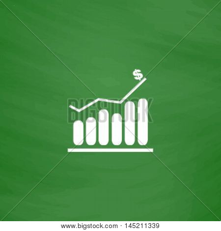 Graph. Flat Icon. Imitation draw with white chalk on green chalkboard. Flat Pictogram and School board background. Vector illustration symbol