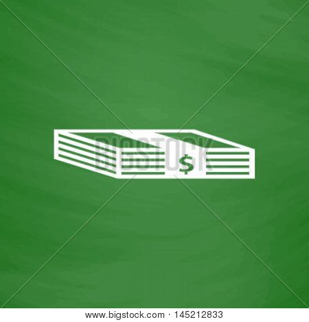 Bundle of Dollars. Flat Icon. Imitation draw with white chalk on green chalkboard. Flat Pictogram and School board background. Vector illustration symbol