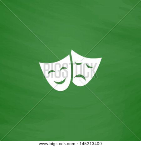 Happy and sad Theater masks. Flat Icon. Imitation draw with white chalk on green chalkboard. Flat Pictogram and School board background. Vector illustration symbol