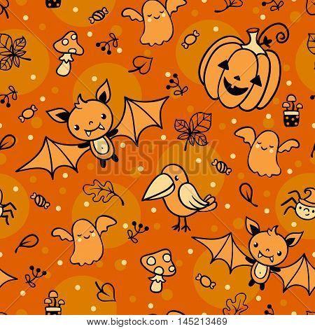 Halloween seamless pattern with ghost, bat, pumpkin, crow mushroom spider