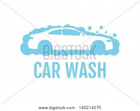 Car wash logo flat design layout. Corporate vector symbol concept. Unique auto cosmetic icon template. Auto washing with shampoo foam bubbles. Automobile cleaning center service label. Water cloud.