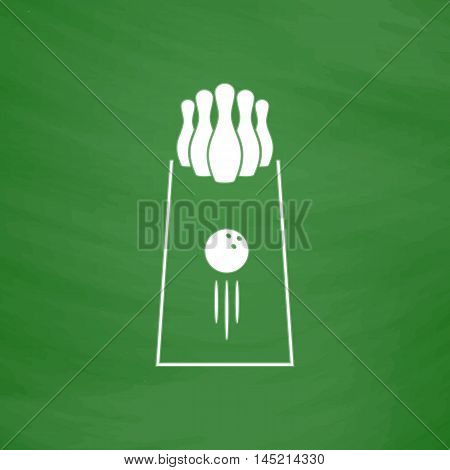 The bowling Game. Flat Icon. Imitation draw with white chalk on green chalkboard. Flat Pictogram and School board background. Vector illustration symbol
