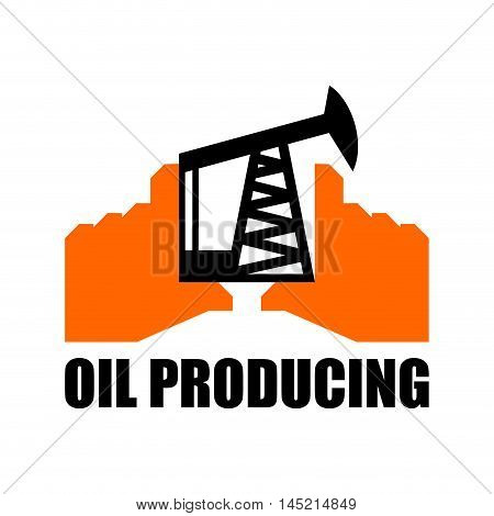 Oil Production Logo. Petroleum Industry Sign. Logo For Petrol Processing. Naphthal Rig Workers And H