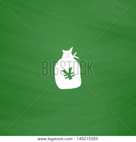 Money bag with Yen JPY. Flat Icon. Imitation draw with white chalk on green chalkboard. Flat Pictogram and School board background. Vector illustration symbol