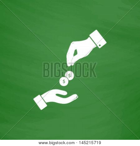 Hands Giving and Receiving Money. Flat Icon. Imitation draw with white chalk on green chalkboard. Flat Pictogram and School board background. Vector illustration symbol