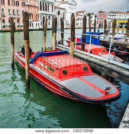 Fire rescue boats near the pier in Venice Italy