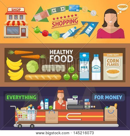Supermarket horizontal banners set with shopping and healthy food everything for money isolated vector illustration
