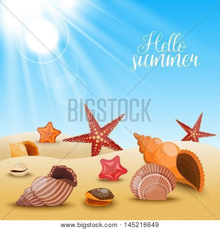 Starfishes on the beach composition shells and starfish on the sand and title hello summer vector illustration