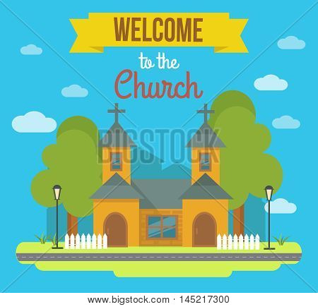 Flat colored building poster with landscape and headline welcome to the church vector illustration