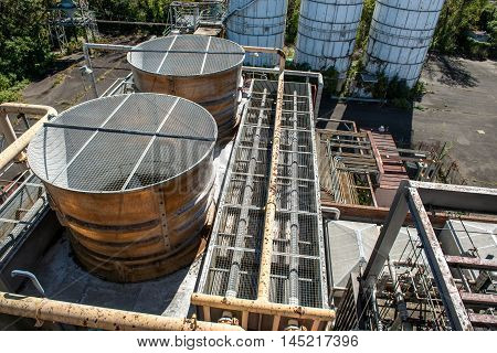 Industrial plant air conditioning systems on a roof