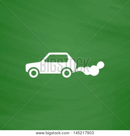 Car emits carbon dioxide. Flat Icon. Imitation draw with white chalk on green chalkboard. Flat Pictogram and School board background. Vector illustration symbol
