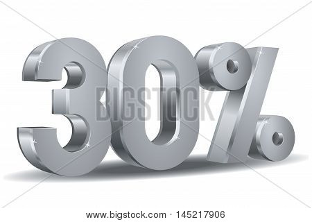 Vector of 30 percent in white background