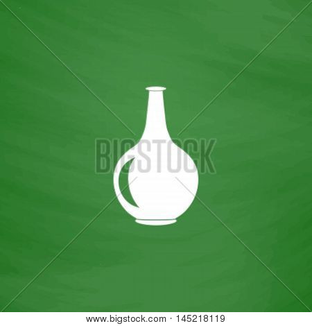 Amphora. Flat Icon. Imitation draw with white chalk on green chalkboard. Flat Pictogram and School board background. Vector illustration symbol