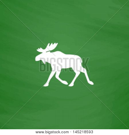 Moose. Flat Icon. Imitation draw with white chalk on green chalkboard. Flat Pictogram and School board background. Vector illustration symbol