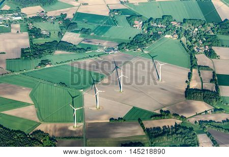 aerial of rural landscape with with wind generator near Bremen
