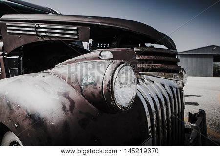 MALAGA, SPAIN - JULY 30, 2016: Old 1946 Chevrolet car headlamp detail, parked in Malaga aerodrome, Spain.