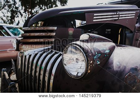 MALAGA, SPAIN - JULY 30, 2016: Old 1946 Chevrolet car, parked in Malaga aerodrome, Spain.