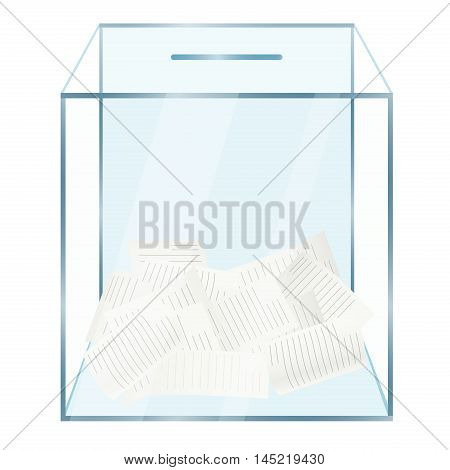 Realistic modern glass transparent ballot box with voting papers inside. Voting concept isolated