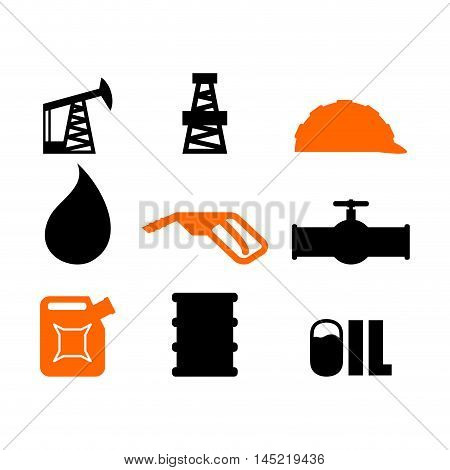 Oil Production Set Of Icons. Petroleum Industry Sign. Logo For Petrol Processing. Naphtha Rig And Wo