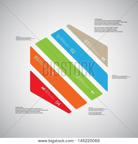 Hexagon Illustration Template Consists Of Five Color Parts On Light Background